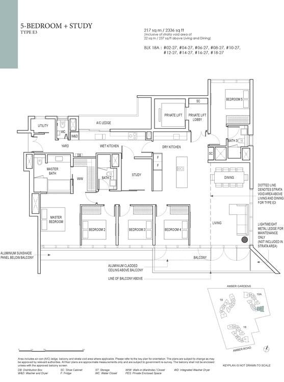 Amber Park Condo Floor Plan 5 Bedroom + Study E3