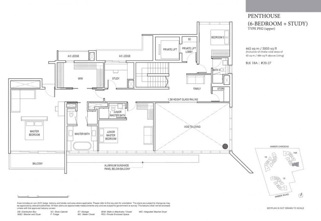 Amber Park Condo Floor Plan Penthouse 6 Bedroom + Study PH2 (Upper)