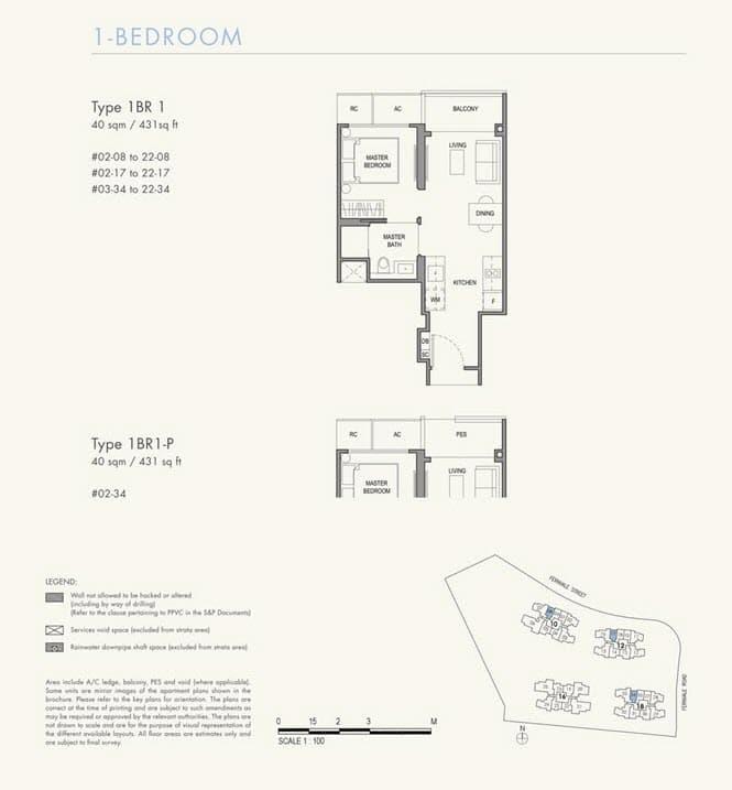 Parc Botannia Condo Floor Plan 1BR 1