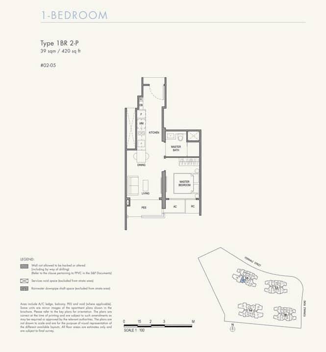 Parc Botannia Condo Floor Plan 1BR 2