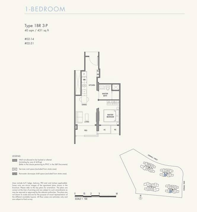 Parc Botannia Condo Floor Plan 1BR 3