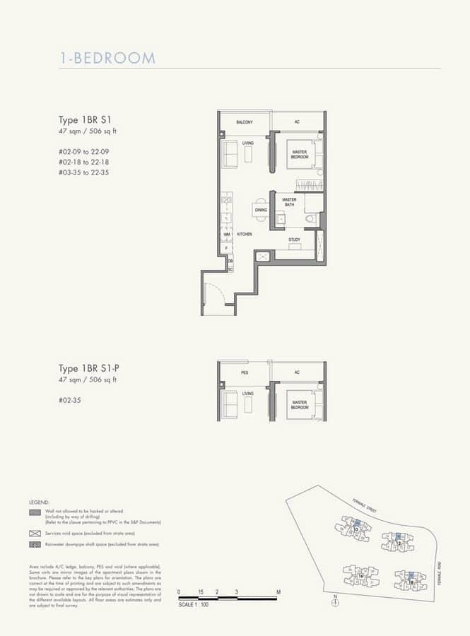 Parc Botannia Condo Floor Plan 1BR+S S1