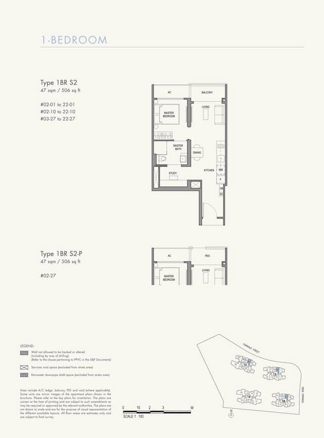Parc Botannia Condo Floor Plan 1BR+S S2