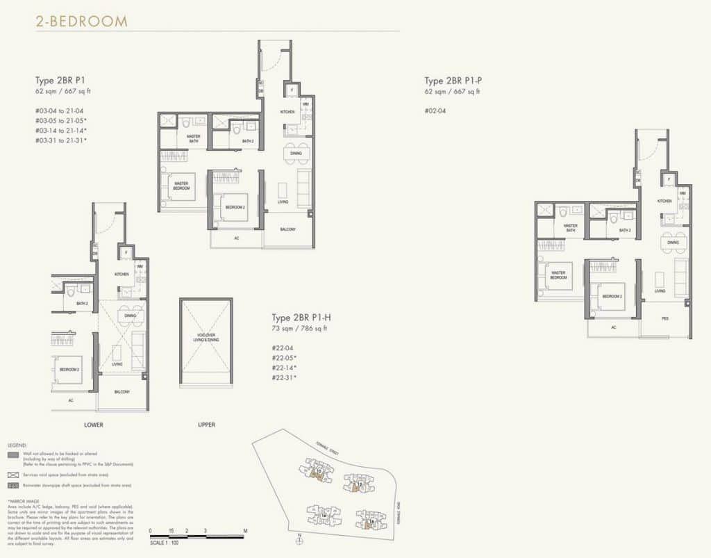 Parc Botannia Condo Floor Plan 2BR P1