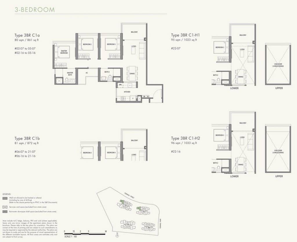 Parc Botannia Condo Floor Plan 3BR C1