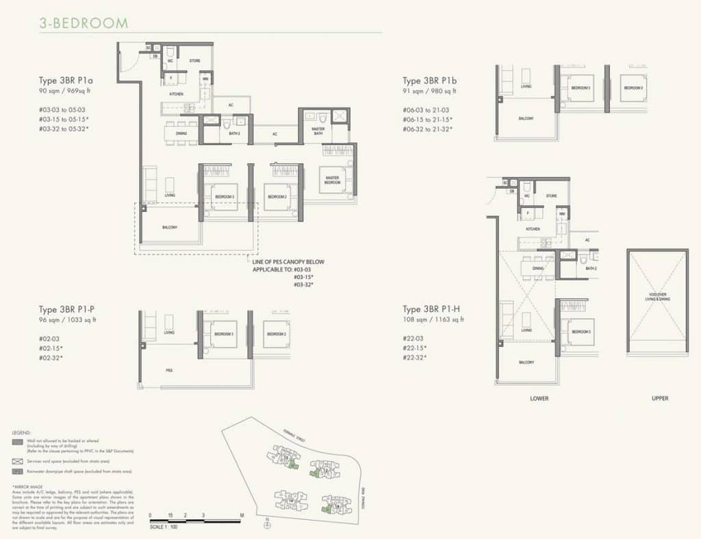 Parc Botannia Condo Floor Plan 3BR P1