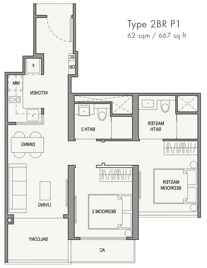Parc Botannia Showflat Unit Floor Plan - 2BR P1 667 sqft