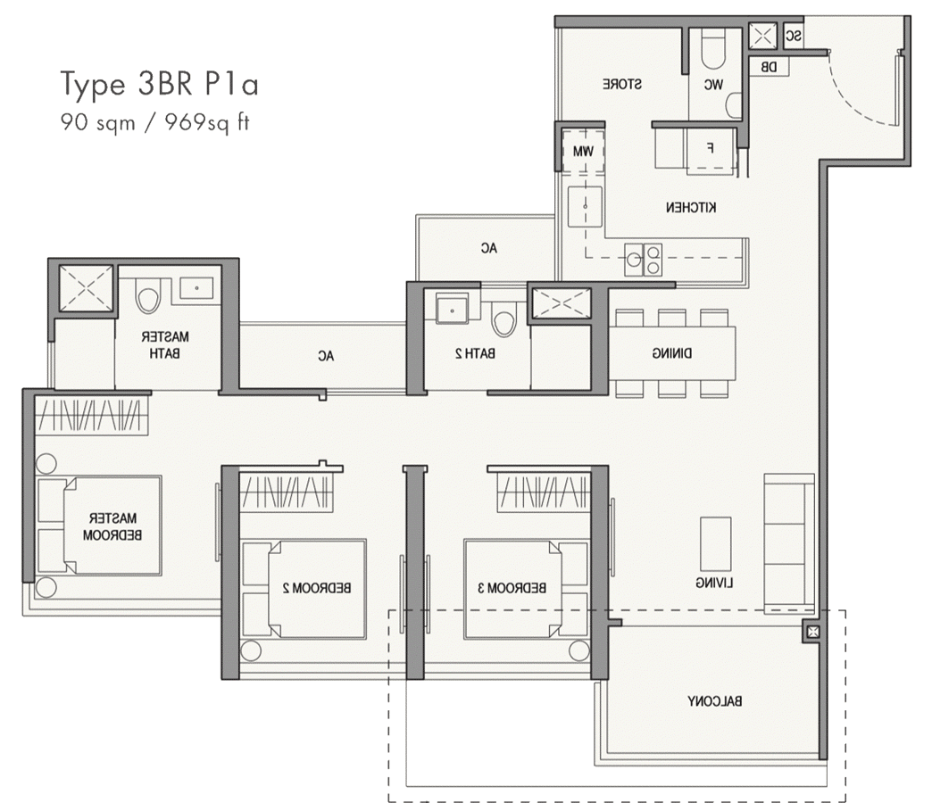 Parc Botannia Showflat Unit Floor Plan - 3BR P1a 969 sqft