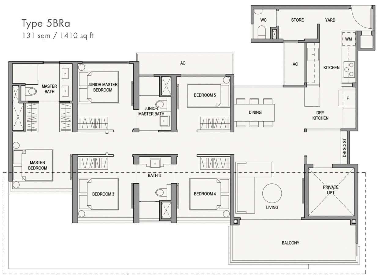 Parc Botannia Showflat Unit Floor Plan - 5BRa 1410 sqft