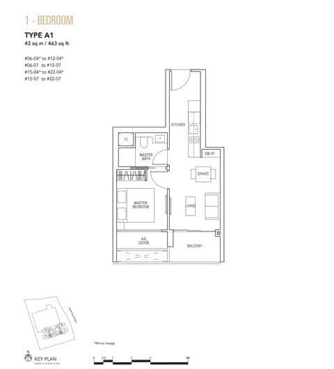Sky Everton Condo Floor Plan 1-Bedroom A1
