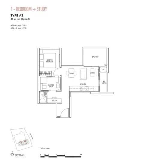 Sky Everton Condo Floor Plan 1-Bedroom + Study A3