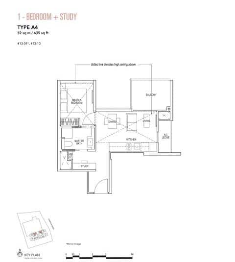 Sky Everton Condo Floor Plan 1-Bedroom + Study A4