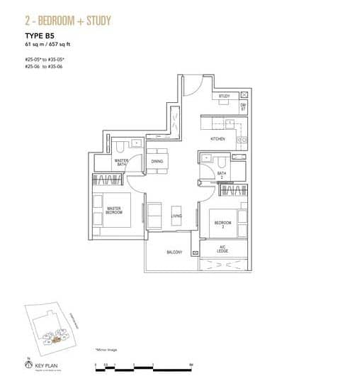 Sky Everton Condo Floor Plan 2-Bedroom + Study B5