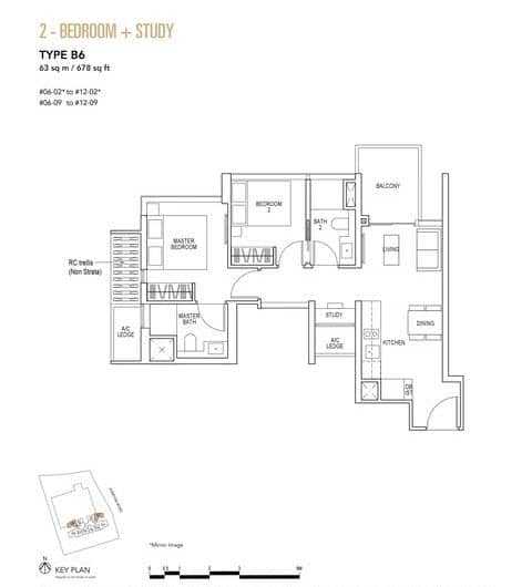 Sky Everton Condo Floor Plan 2-Bedroom + Study B6