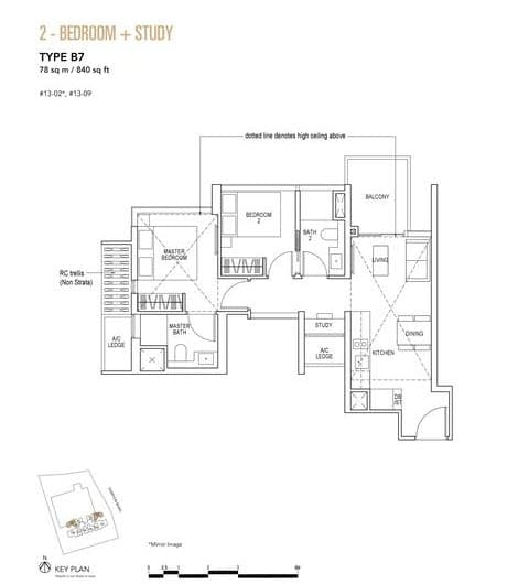 Sky Everton Condo Floor Plan 2-Bedroom + Study B7