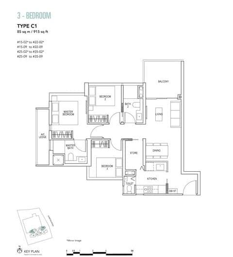 Sky Everton Condo Floor Plan 3-Bedroom C1