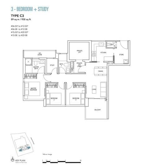 Sky Everton Condo Floor Plan 3-Bedroom + Study C3