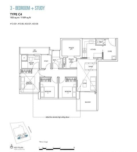 Sky Everton Condo Floor Plan 3-Bedroom + Study C4