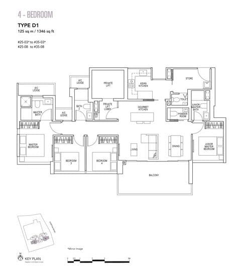 Sky Everton Condo Floor Plan 4-Bedroom D1