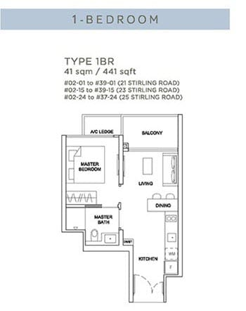 Stirling Residences Floor Plan 1BR 1BR