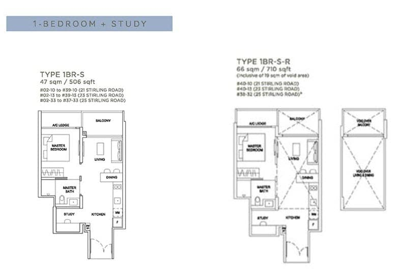 Stirling Residences Floor Plan 1BR Study 1BR-S