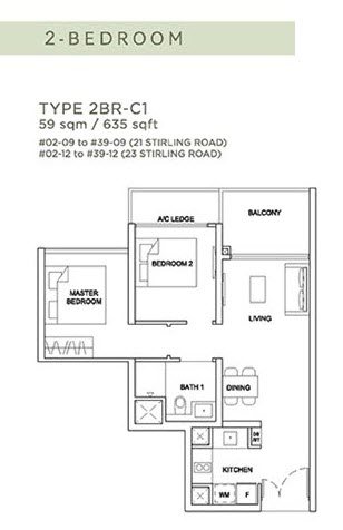 Stirling Residences Floor Plan 2BR 2BR-C1
