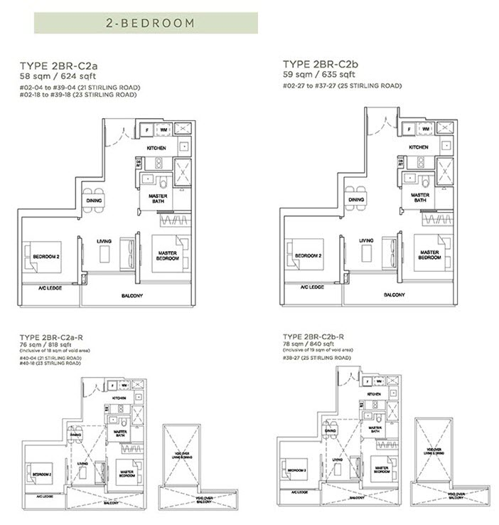 Stirling Residences Floor Plan 2BR 2BR-C2