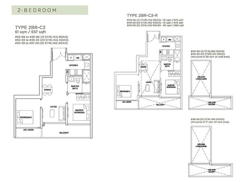 Stirling Residences Floor Plan 2BR 2BR-C3