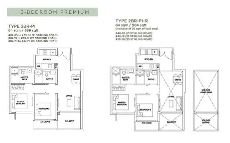 Stirling Residences Floor Plan 2BR Premium 2BR-P1