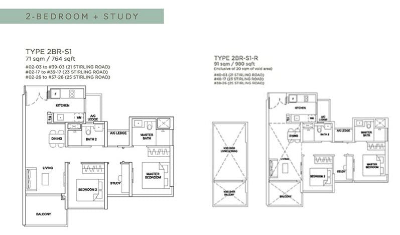 Stirling Residences Floor Plan 2BR Study 2BR-S1
