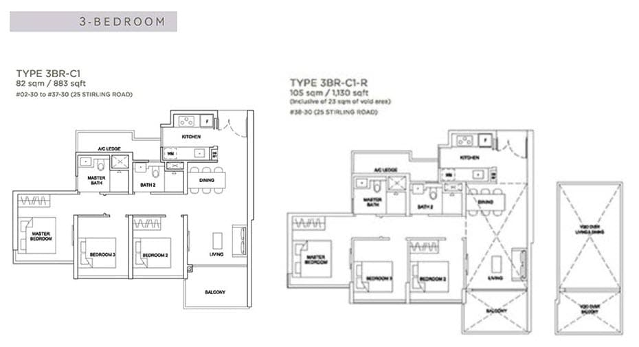 Stirling Residences Floor Plan 3BR 3BR-C1