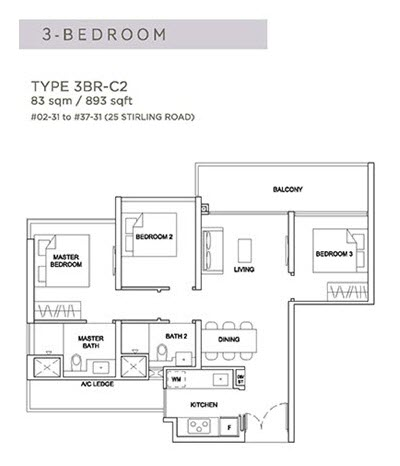Stirling Residences Floor Plan 3BR 3BR-C2