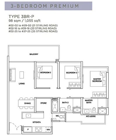 Stirling Residences Floor Plan 3BR Premium 3BR-P