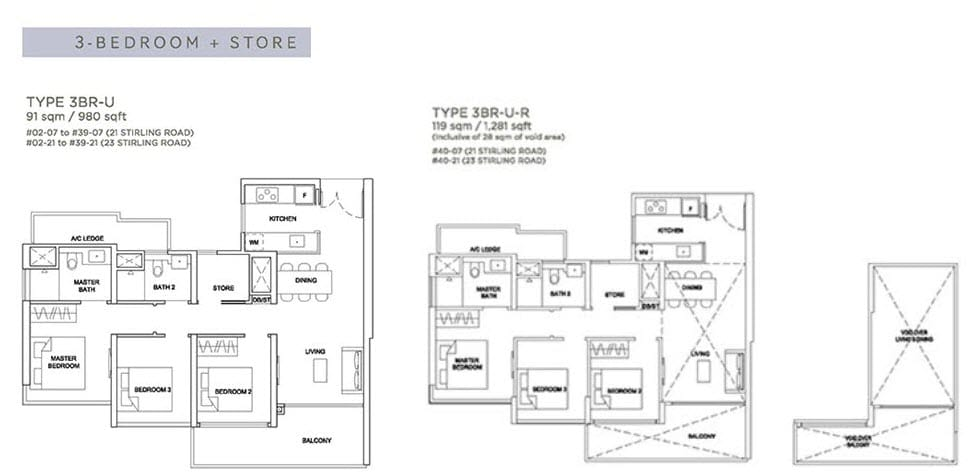 Stirling Residences Floor Plan 3BR Store 3BR-U