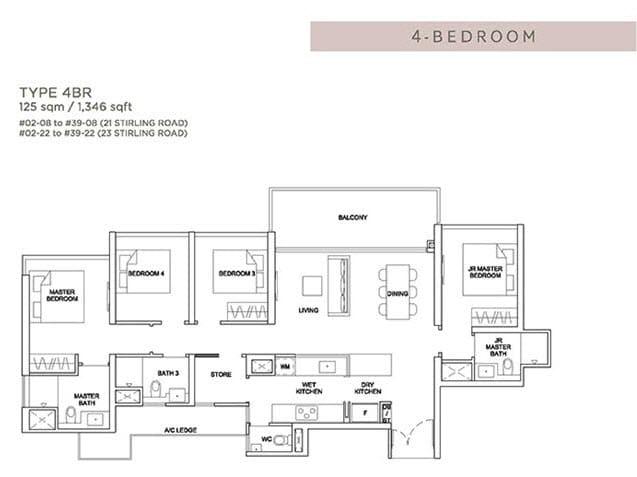 Stirling Residences Floor Plan 4BR 4BR