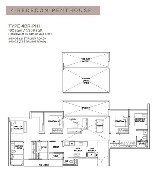 Stirling Residences Floor Plan Penthouse 4BR 4BR-PH1