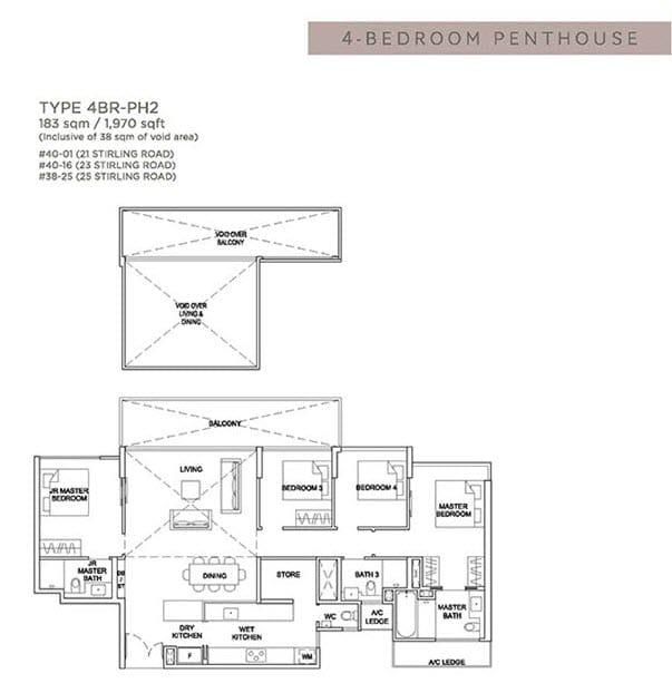 Stirling Residences Floor Plan Penthouse 4BR 4BR-PH2