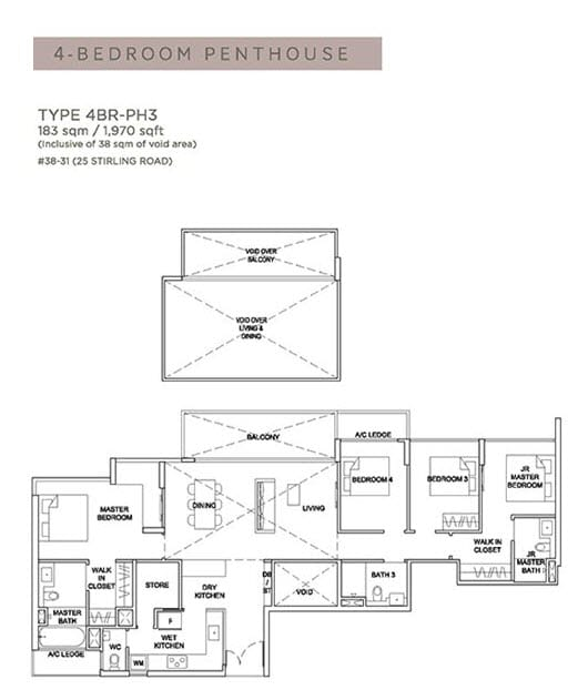 Stirling Residences Floor Plan Penthouse 4BR 4BR-PH3