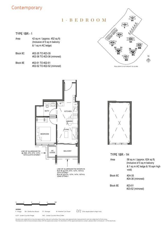 Parc Clematis Condo Floor Plan 1 Bedroom (Contemporary) - 1BR-1