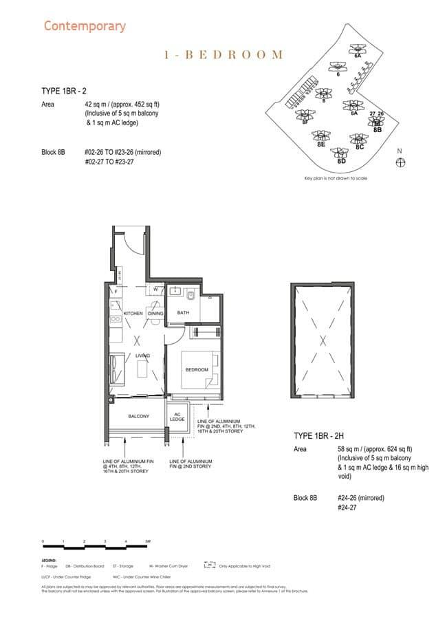 Parc Clematis Condo Floor Plan 1 Bedroom (Contemporary) - 1BR-2