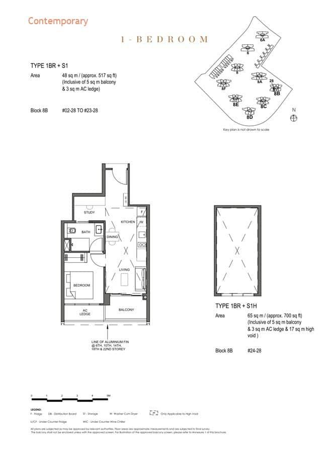 Parc Clematis Condo Floor Plan 1 Bedroom +Study (Contemporary) - 1BR+S1