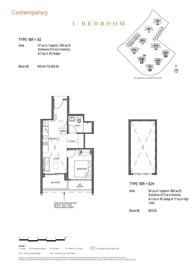 Parc Clematis Condo Floor Plan 1 Bedroom +Study (Contemporary) - 1BR+S2