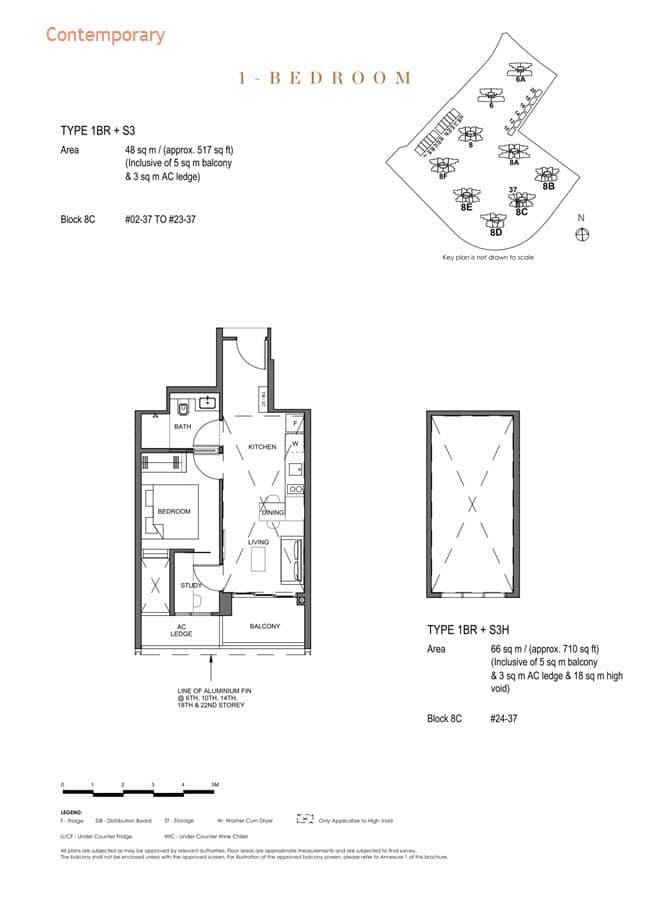 Parc Clematis Condo Floor Plan 1 Bedroom +Study (Contemporary) - 1BR+S3