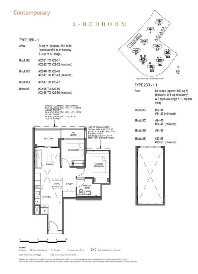 Parc Clematis Condo Floor Plan 2 Bedroom (Contemporary) - 2BR-1