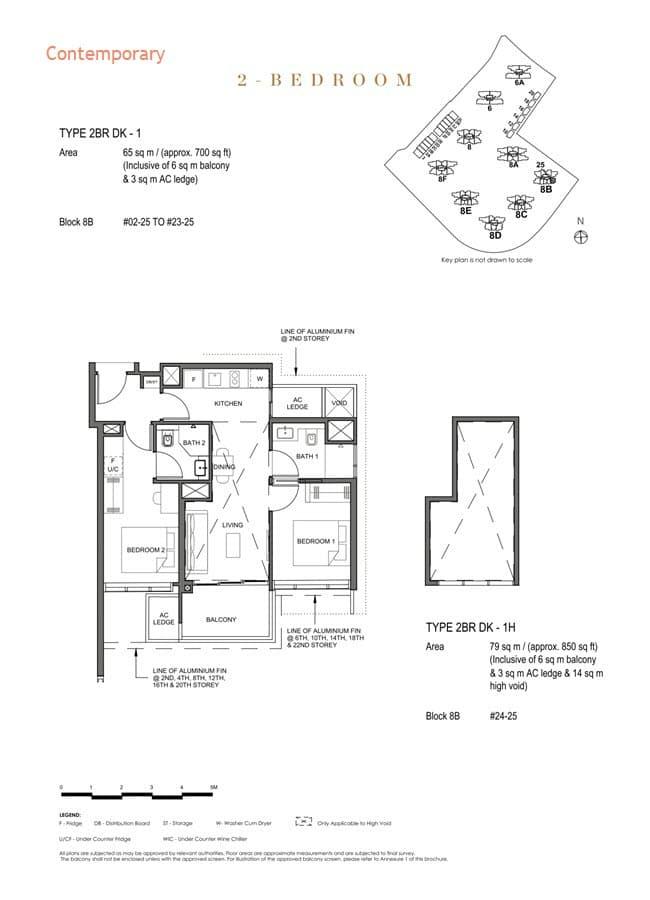 Parc Clematis Condo Floor Plan 2 Bedroom Dual Key (Contemporary) - 2BR DK-1