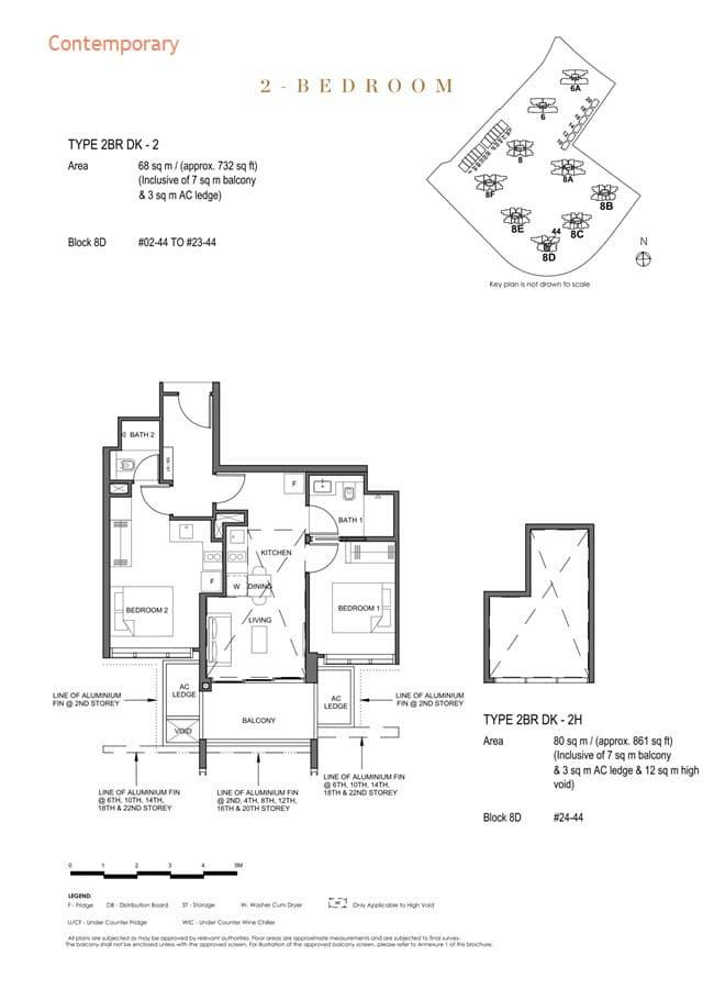 Parc Clematis Condo Floor Plan 2 Bedroom Dual Key (Contemporary) - 2BR DK-2