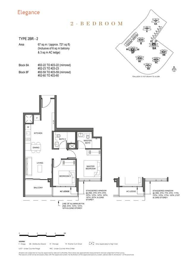 Parc Clematis Condo Floor Plan 2 Bedroom (Elegance) - 2BR-2