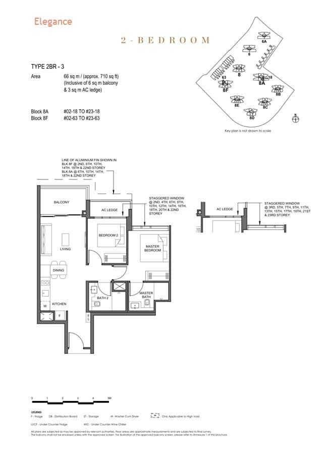Parc Clematis Condo Floor Plan 2 Bedroom (Elegance) - 2BR-3