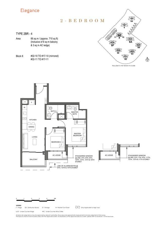 Parc Clematis Condo Floor Plan 2 Bedroom (Elegance) - 2BR-4