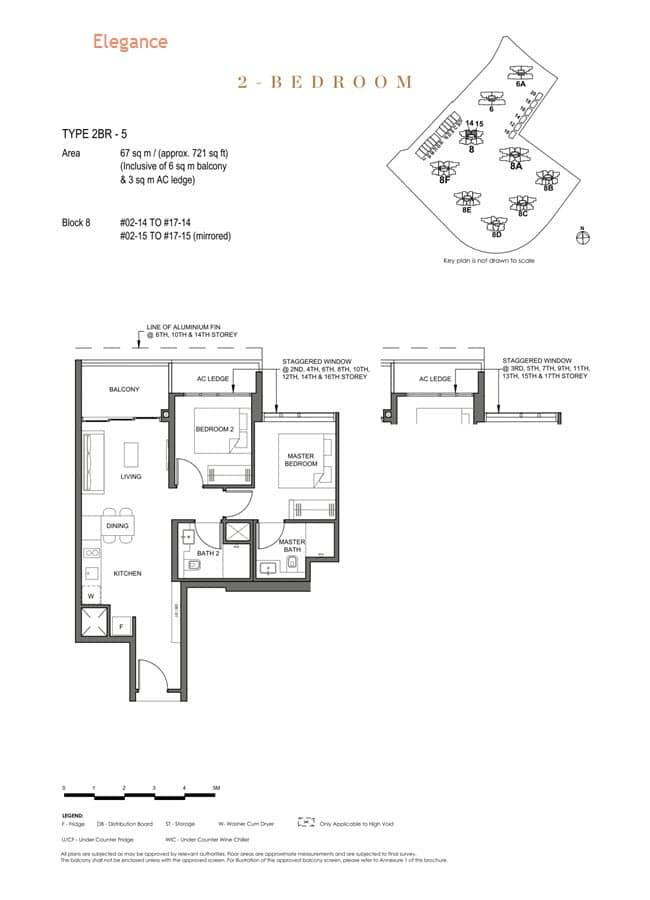 Parc Clematis Condo Floor Plan 2 Bedroom (Elegance) - 2BR-5